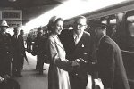 Queen Elizabeth II and Prince Phillip being welcomed upon arrival at Bathurst aboard the royal train