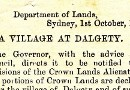 Notification of site for village at Dalgety, 1890