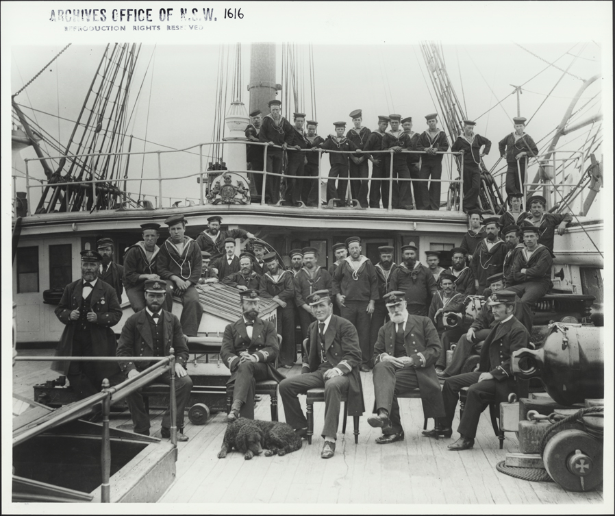Naval Officers and cadets on the N.S.S 'Sobraon', 11 Aug 1893. Digital ID 4481_a026_000966
