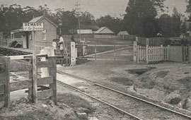 Valley Heights Railway Station c1878 - level crossing and gatehouse. Digital ID 17420_a014_a014000733