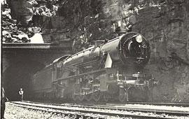 Class 5703 locomotive going through the Glenbrook tunnel on a trial run, 30 Oct 1929. Digital ID a014-a014000909