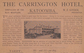 Advertisement for the Carrington Hotel, 1898. NRS 16407/1/1[11]
