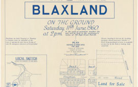 Land for sale at Blaxland, 1960. NRS 9149 [10/217] Poster in volume